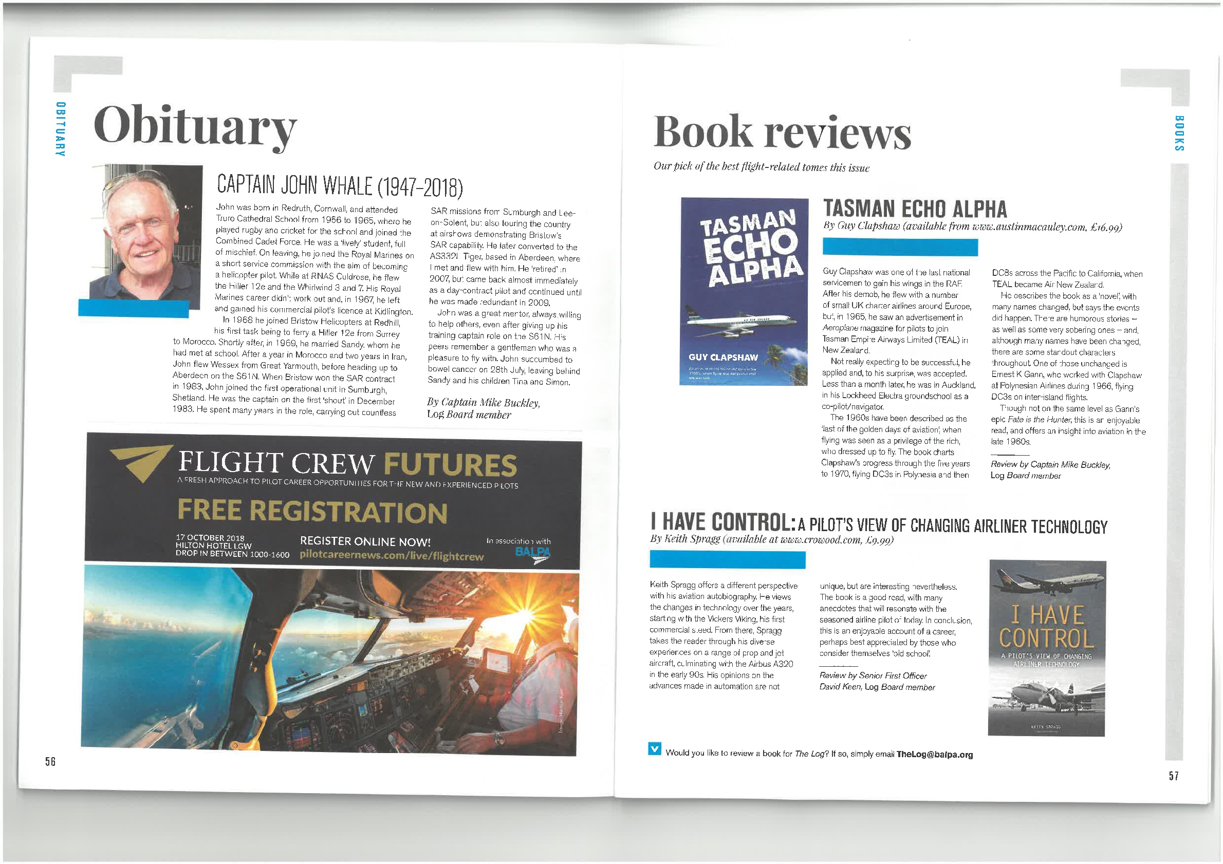 Book Review of 'Tasman Echo Alpha' by British Airline Pilots