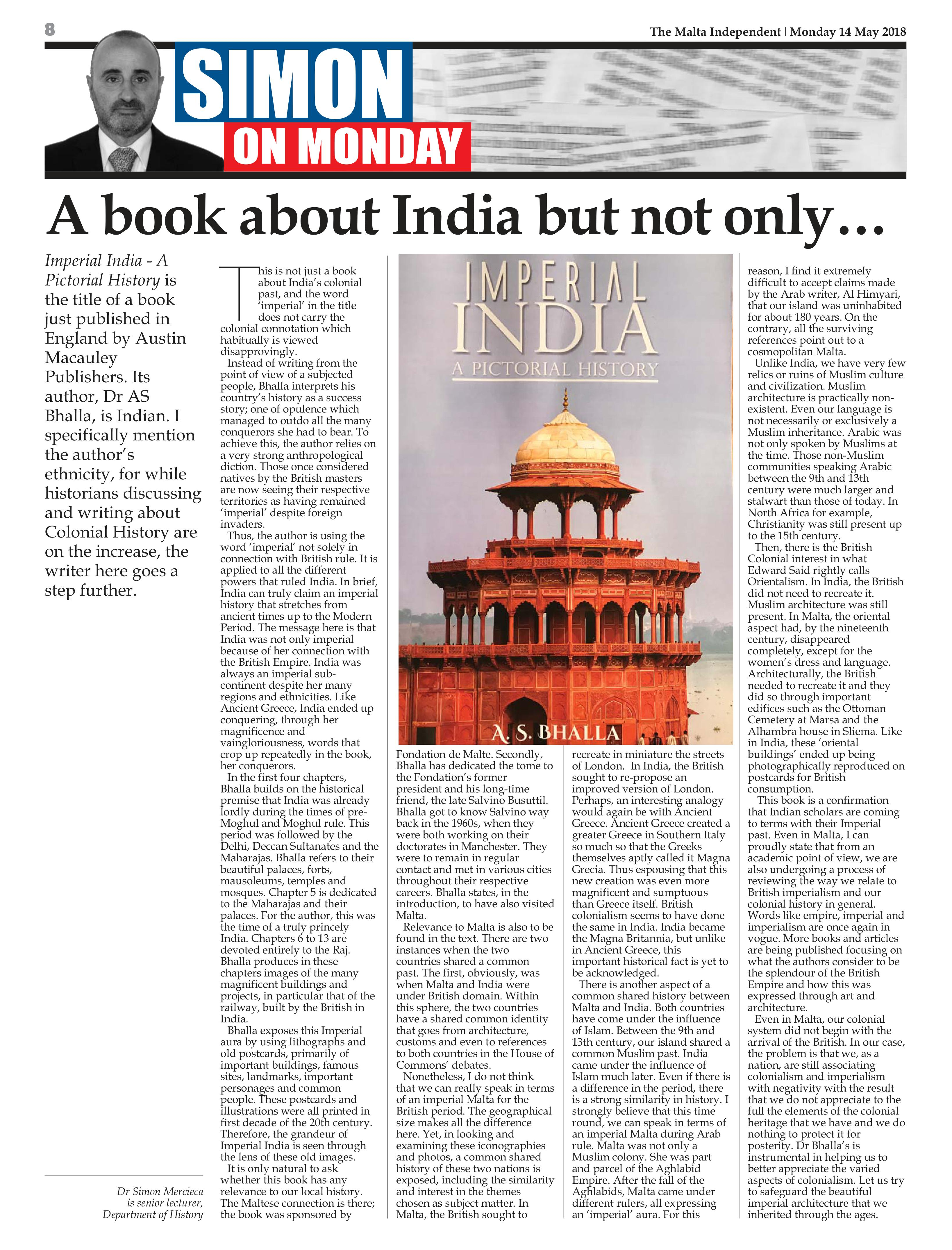 Imperial India: A Pictorial History' by A S  Bhalla received