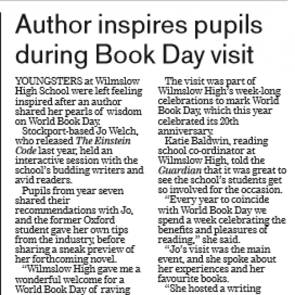 Wilmslow Guardian features J. D. Welch and her World Book Day Visit