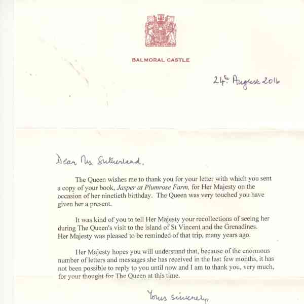 Lilli Sutherland letter from the Queen