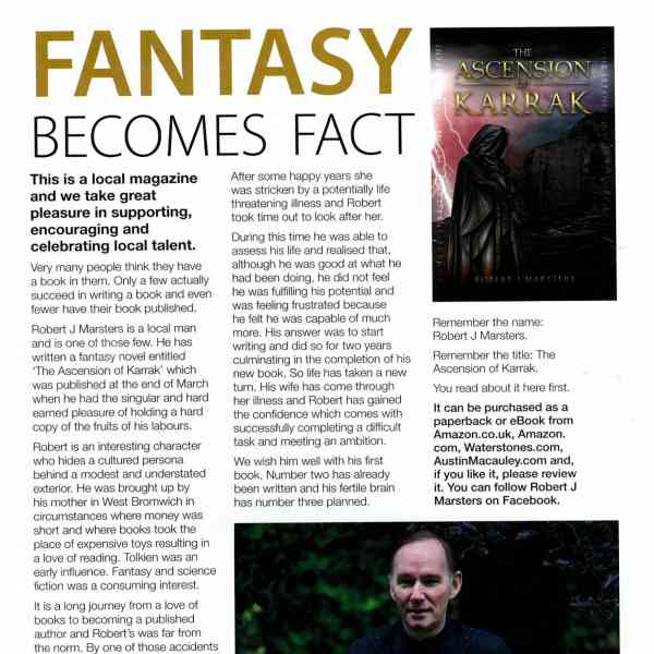 Robert J. Marsters is Featured in the Wolverhampton West Magazine